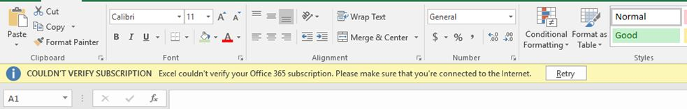 Solved] Couldn't verify Office 365 Subscription  – Welcome